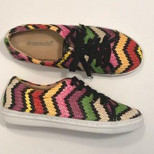Shoedazzle Multi-Colored Woven Chevron Casual Shoe